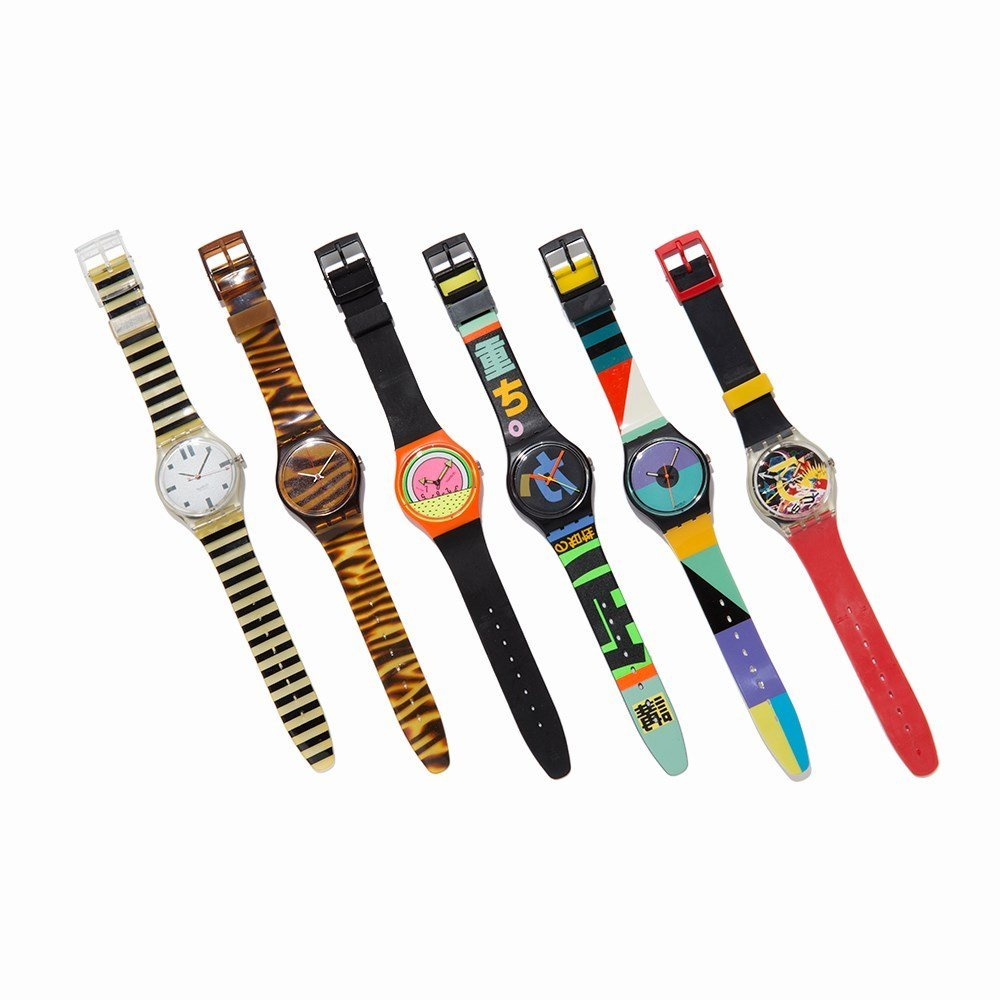 Collection of Six Swatch Wristwatches, c. 1985 - 9
