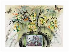 Salvador Dal Lithograph  Collage Flowers and