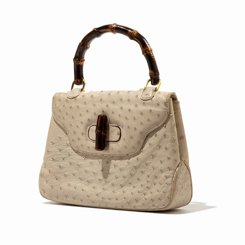 Gucci, Vintage Cream Ostrich Handbag, Italy, mid 20th - 8