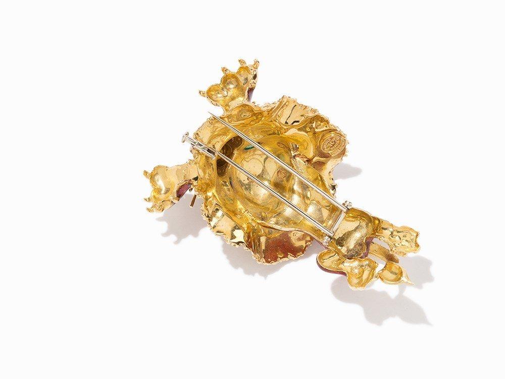 Frascarolo Lion Brooch, 18K Gold and Enamel, Italy, c. - 4
