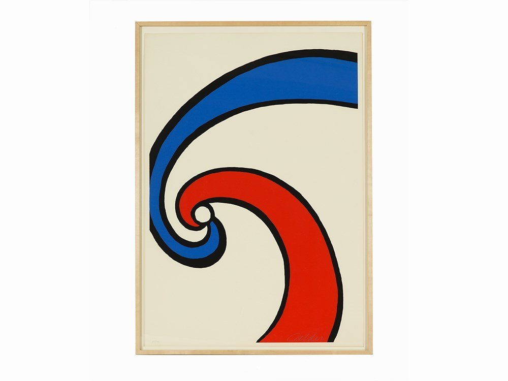 Alexander Calder, Red and Blue Swirl, Lithograph, 20th