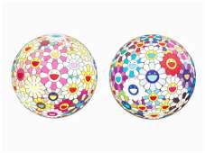 Takashi Murakami, Flowerball (3D), 2 Lithographs,