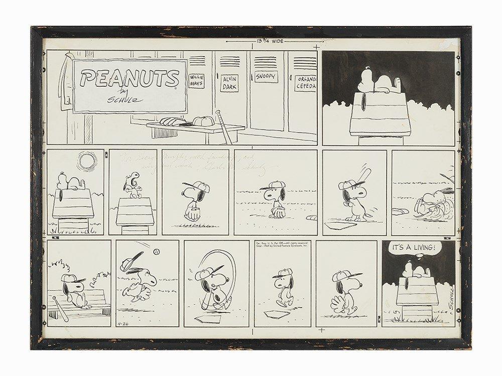 Schulz, Original Peanuts Snoopy Baseball Strip, U.S.A.,
