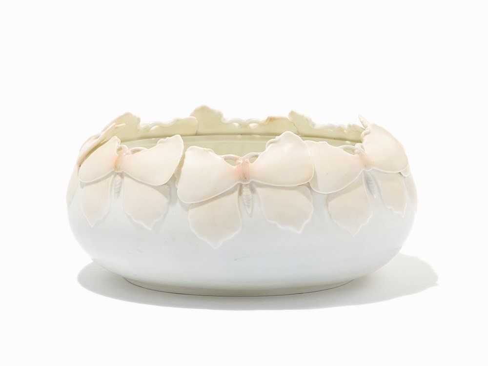 Porcelain Bowl with Butterflies, Austria, circa 1920