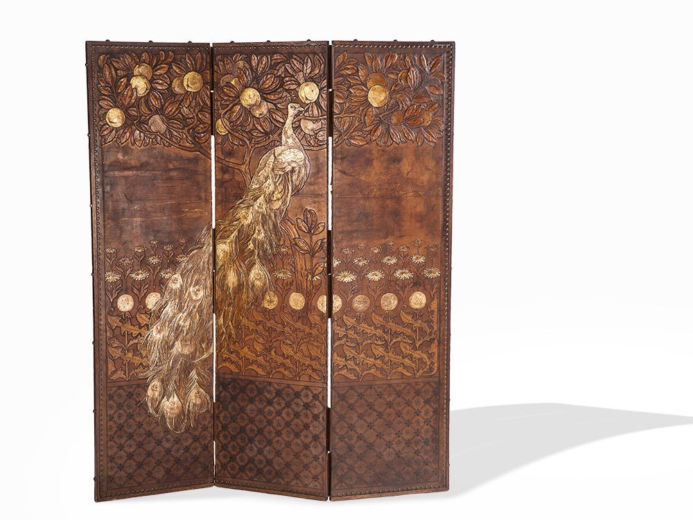 Manner of Lalique, 3 Panel Embossed & Gilt Leather