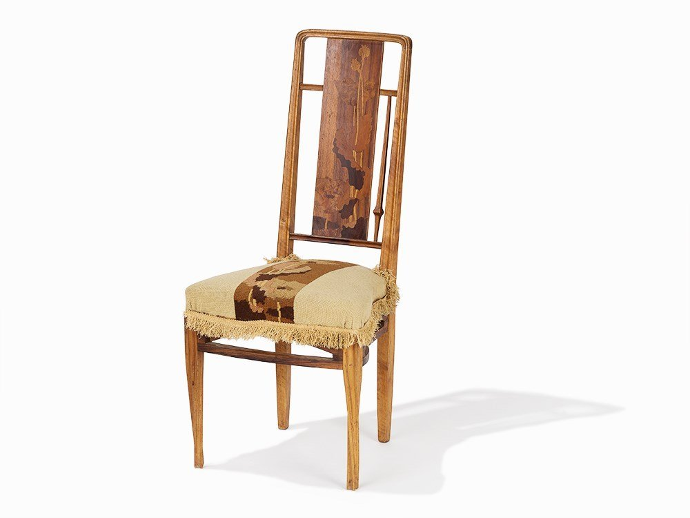 Louis Majorelle Carved Mahogany and Marquetry Chair, c.