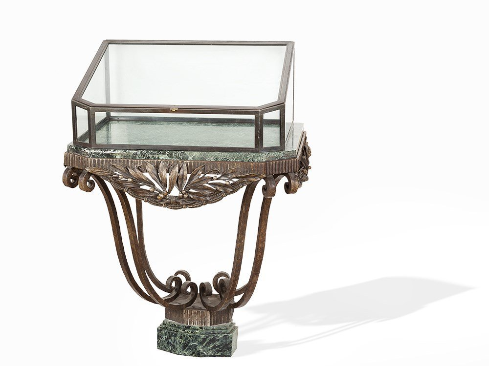 Edgar Brandt, Wrought-Iron, Marble and Glass console,