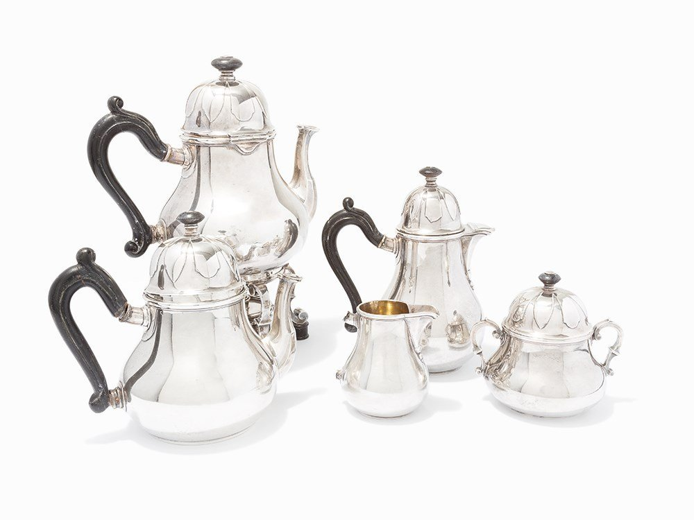 Robert Linzeler, French Tea and Coffee Silver Set, c.