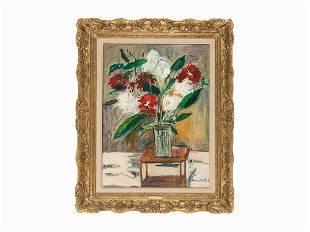 Maurice Utrillo, Oil on Board, 'Vase de fleurs sur une