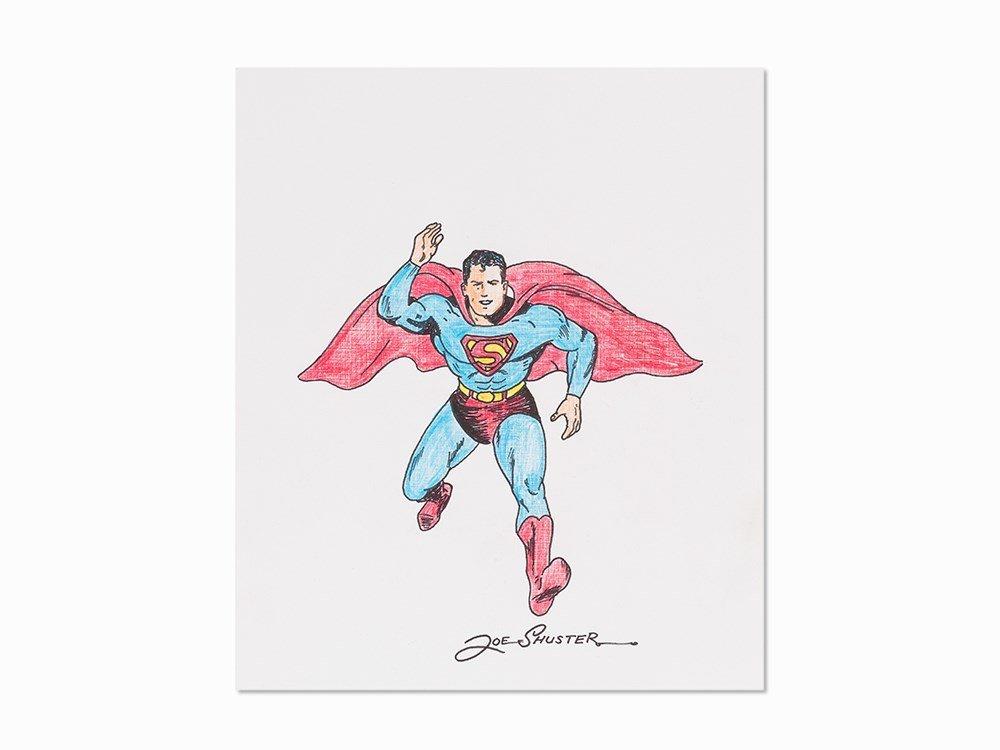 Joe Shuster, Superman Original Drawing, Pen and Marker