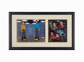 Nbc, Star Trek Model Cel & Signed Cast Photograph, C.