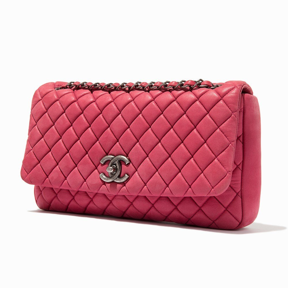 Chanel, Pink Iridescent Calfskin New Bubble Flap Bag, - 10