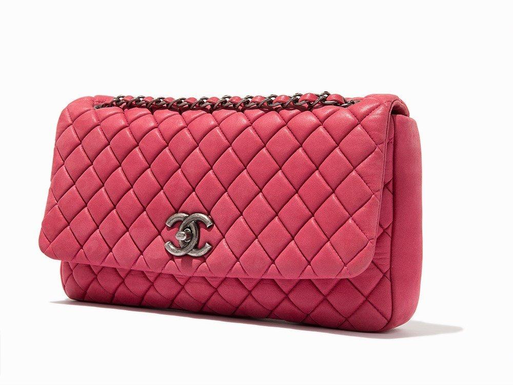 Chanel, Pink Iridescent Calfskin New Bubble Flap Bag,