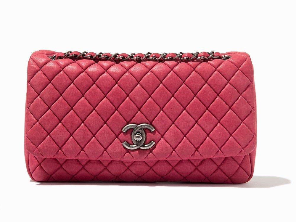 Chanel, Pink Iridescent Calfskin New Bubble Flap Bag, - 2