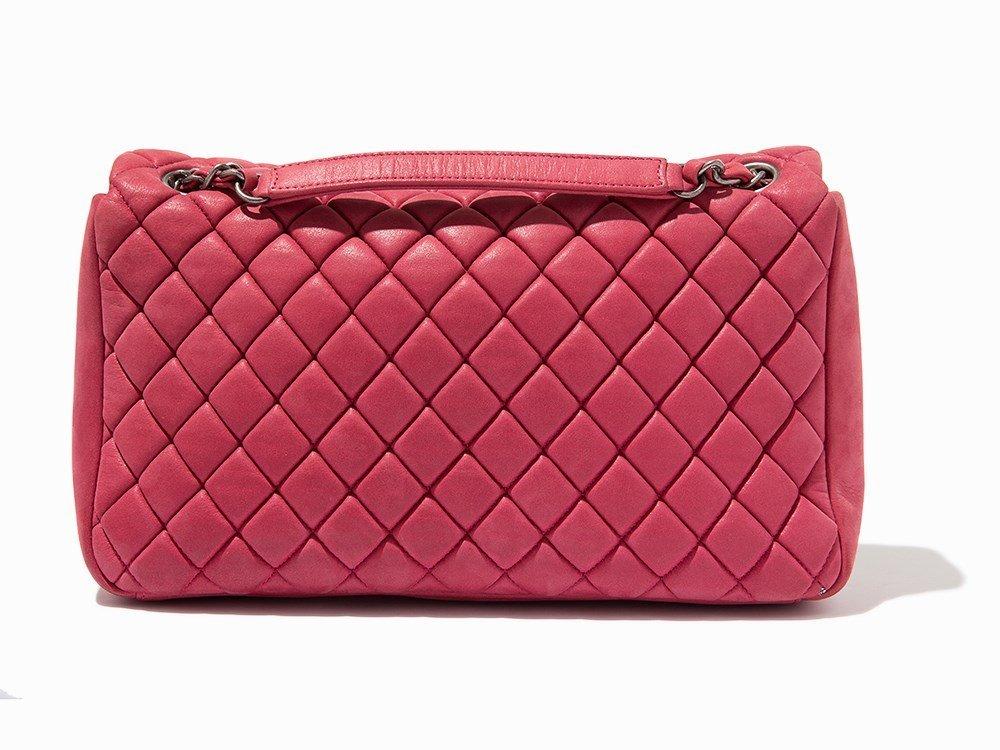 Chanel, Pink Iridescent Calfskin New Bubble Flap Bag, - 4
