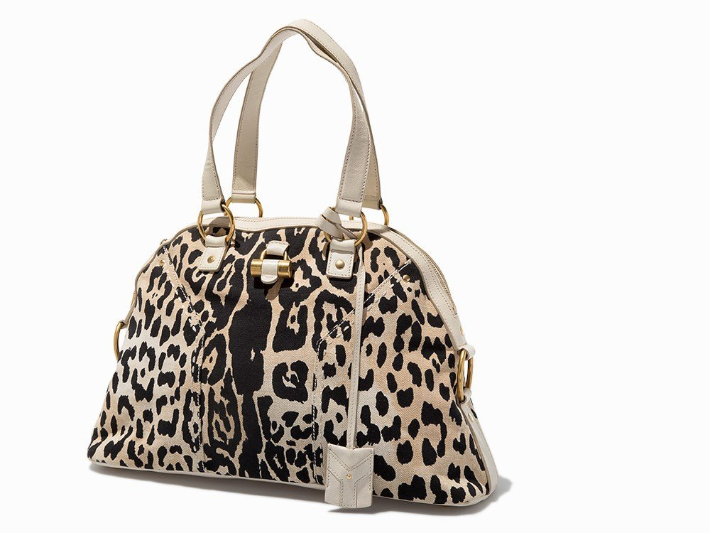 Yves Saint Laurent, Leopard Print Canvas Muse Bag, c.