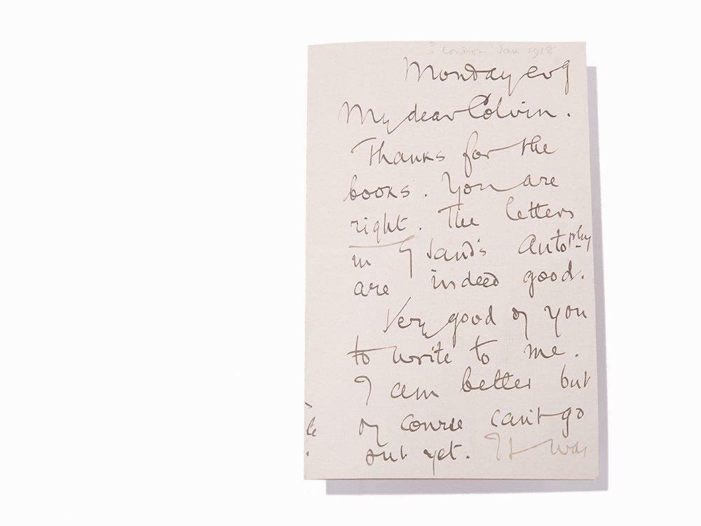 Joseph Conrad, Manuscript Letter to Sir Sidney Colvin,