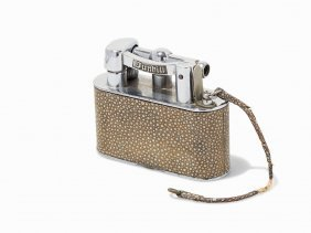 Dunhill Silver-plate And Shagreen Table Lighter,