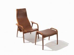 Yngve Ekstrom Lounge Chair And Ottoman, Sweden, Ca.