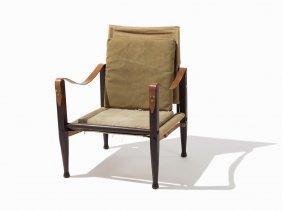 Kaare Klint Canvas Safari Lounge Chair, Denmark, Ca.