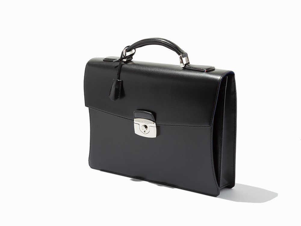 S.T.Dupont, Black Leather Single Gusset Briefcase