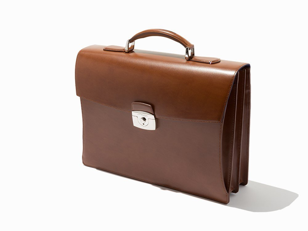 S.T.Dupont, Brown Leather Double Gusset Briefcase