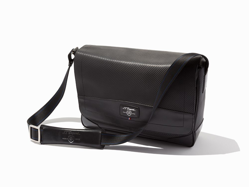 "S.T. Dupont, Black ""Defi Carbon"" Small Messenger Bag"