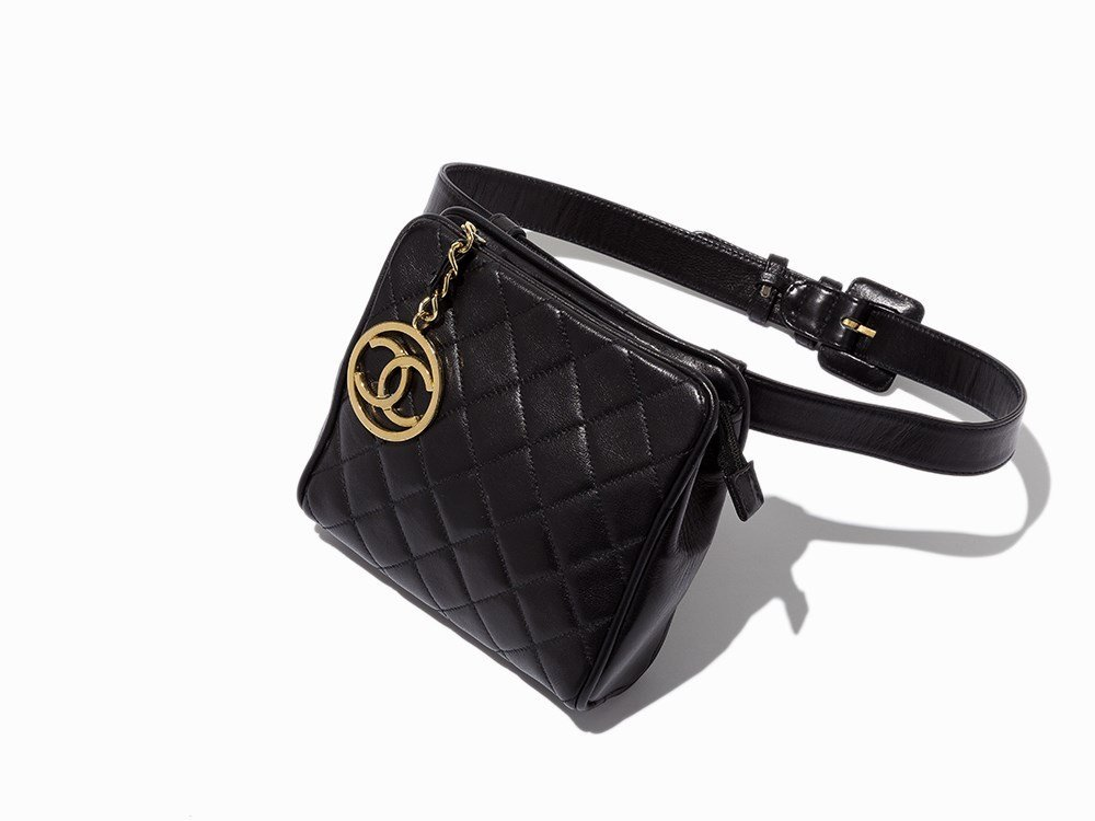 Chanel, Vintage Quilted Black Leather Waist Bag, c.
