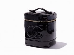 Chanel, Black Patent Leather Vanity Bag, C.1990s
