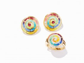 Bagues 18k Yellow Gold And Diamond Enamel Ring And