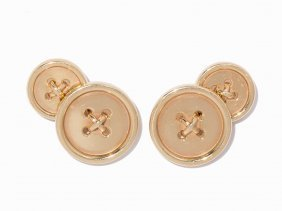 Tiffany & Co., 14k Yellow Gold Button Cufflinks