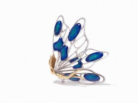 Buccellati 18k Yellow Gold And Enamel Butterfly Brooch