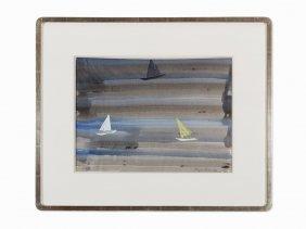 Milton Avery, 'sailboats Three', Watercolor, 1960