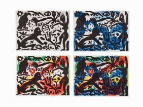 A.r. Penck, 'the Situation Now', Set Of 4 Lithographs,