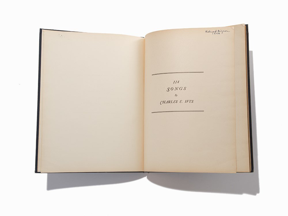 """Charles E. Ives, """"114 Songs"""", 1922, 1st Ed, 2nd Issue"""