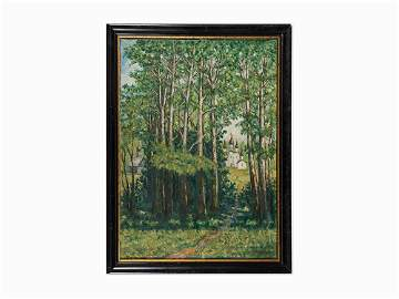 """Russian School, """"Summer Landscape with Birches,"""" 20th"""