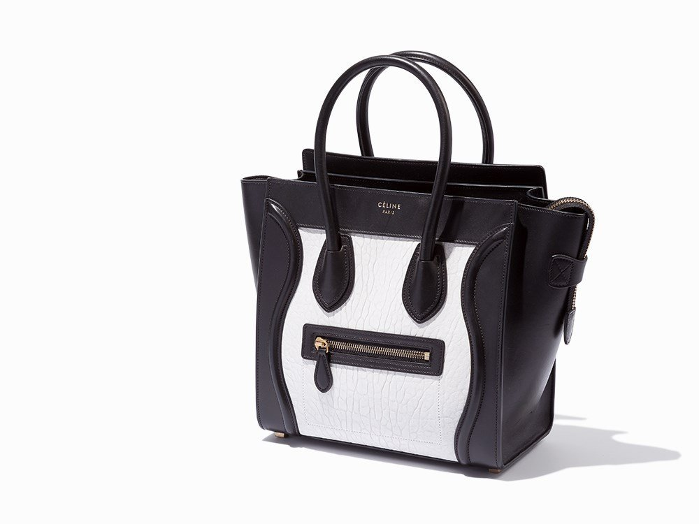 Celine, Black & White Leather Mini Luggage, c.2000's