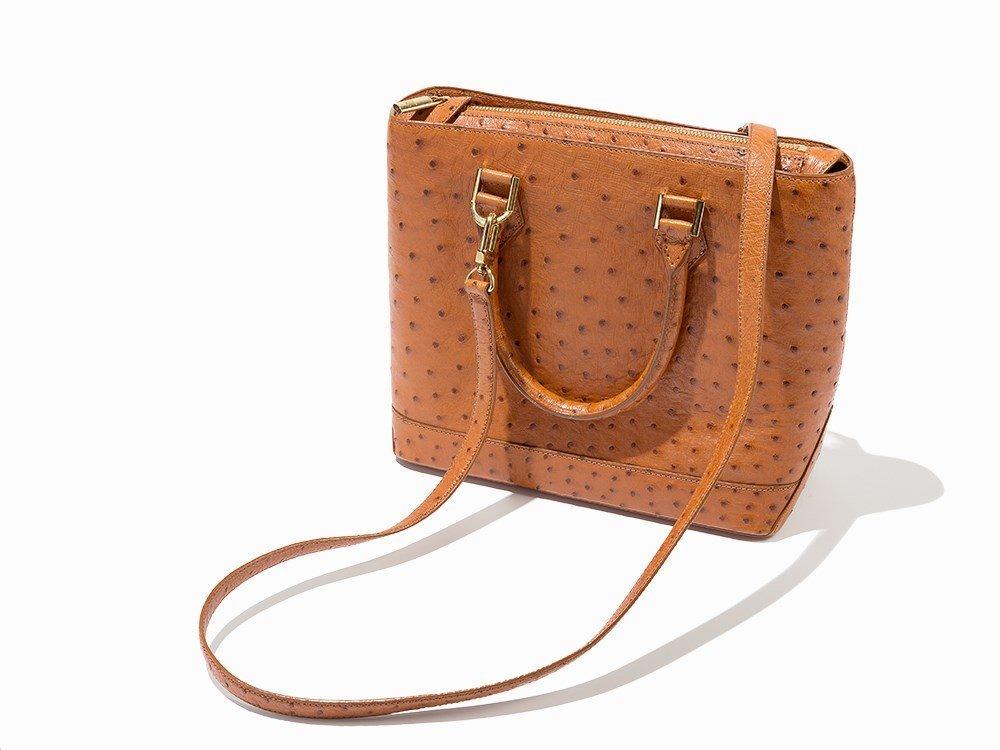 Louis Vuitton, Orange Ostrich Lancelot Shoulder Bag,