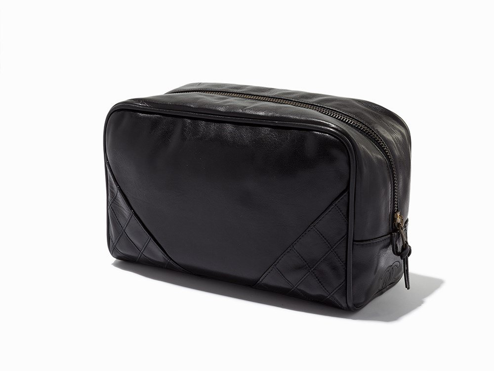 Chanel, Black Leather Cosmetic Pouch, c.1986