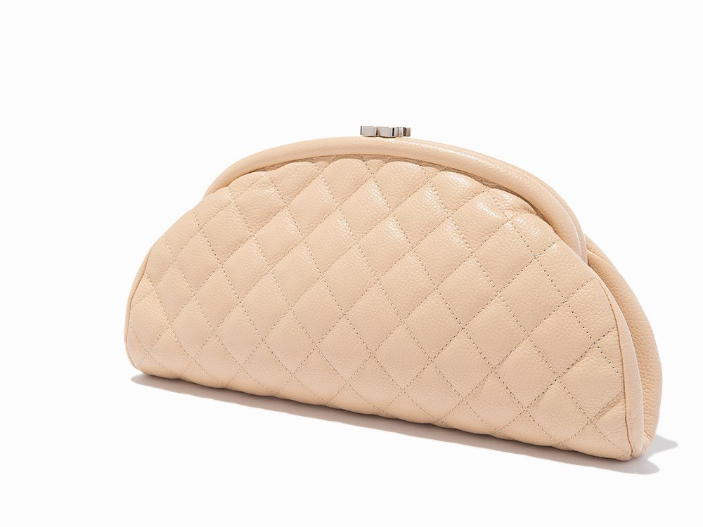 Chanel, Peach Quilted Caviar Leather Timeless Clutch,