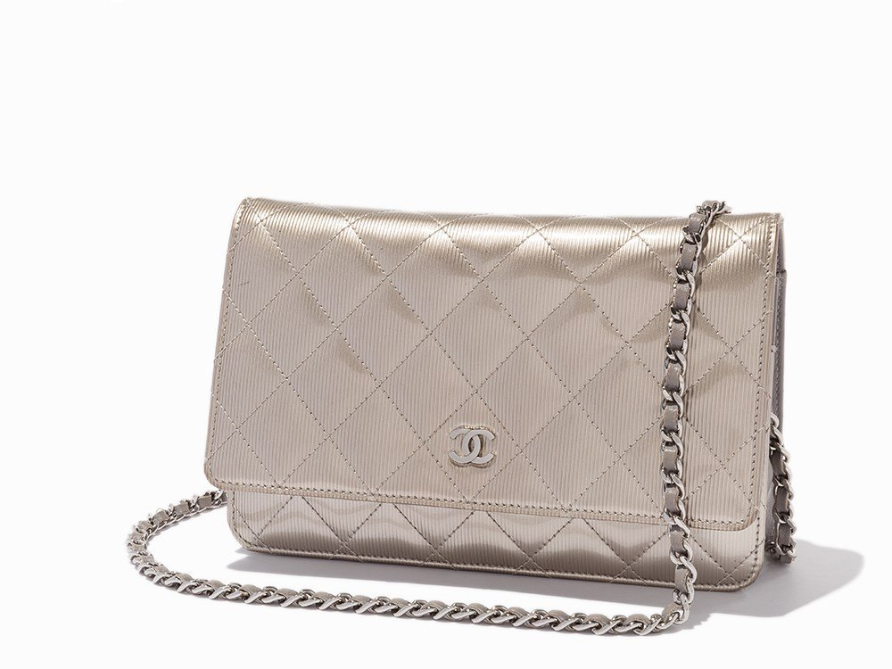 Chanel, Quilted Silver Patent Leather WOC, c.2012