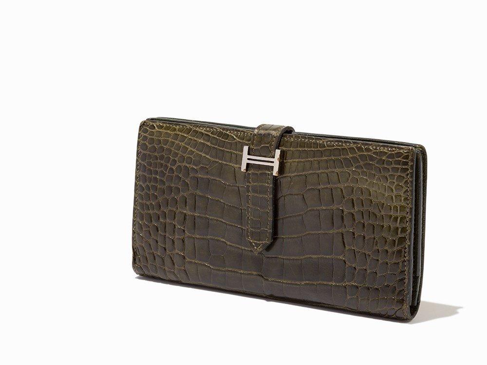 Hermès, Vert Veronese Alligator Bearn Wallet, c.2010