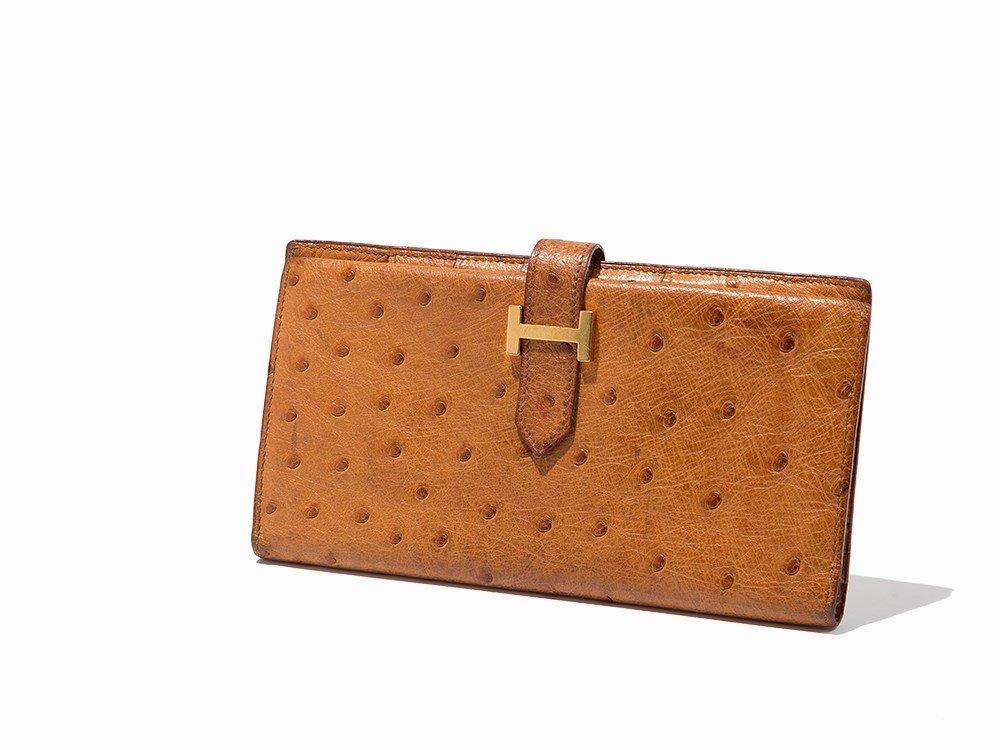Hermès, Orange Ostrich Leather Bearn Wallet, c.20th C
