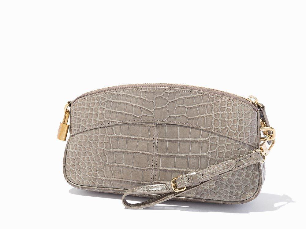 Louis Vuitton, Grey Alligator Lockit Clutch, c.2000's