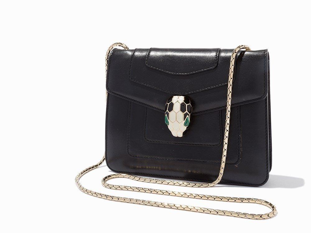 Bvlgari, Black Serpenti Forever Flap Bag, c.2000's