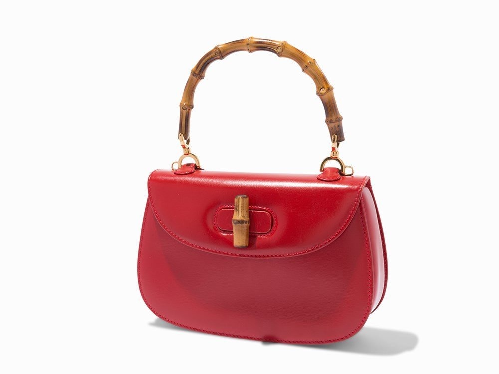 Gucci, Red Leather & Bamboo Handbag, 20th C.