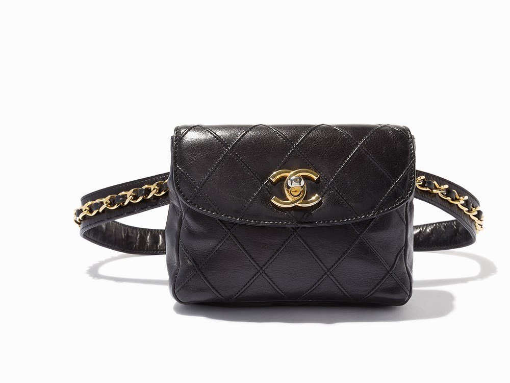 Chanel, Black Quilted Leather Waist Bag, 20th C.
