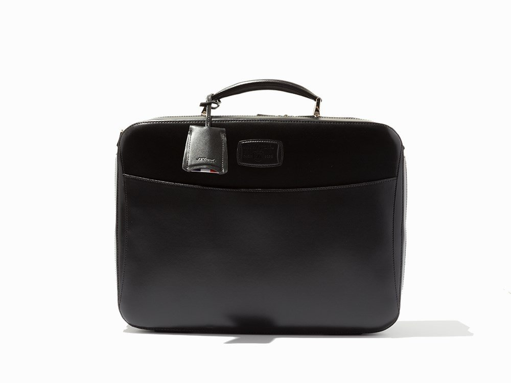 S.T. Dupont, Black Leather Carrier & Laptop Bag - 4