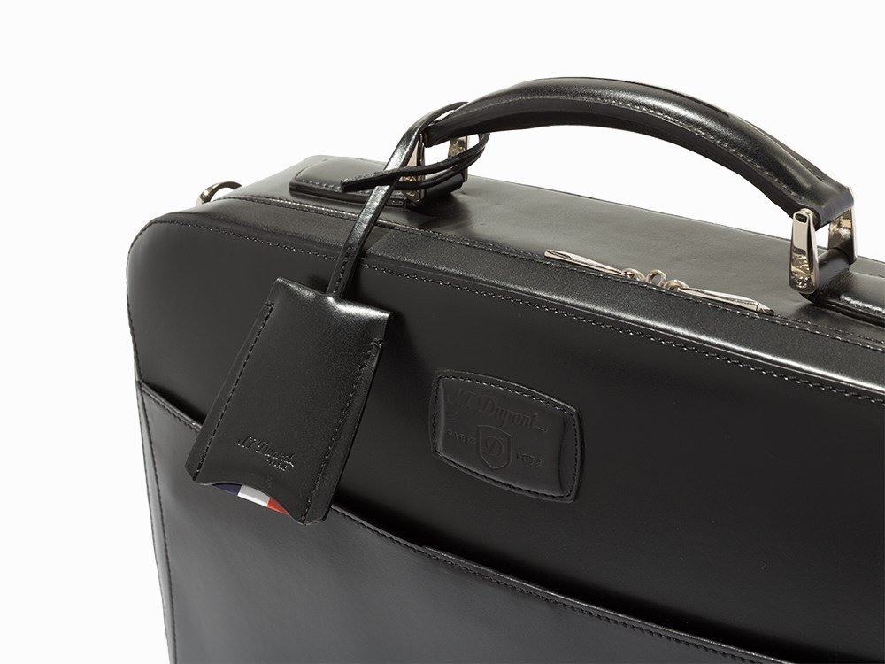 S.T. Dupont, Black Leather Carrier & Laptop Bag - 7