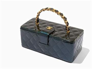 Chanel, Quilted Teal Patent Leather Cosmetic Hard Case,